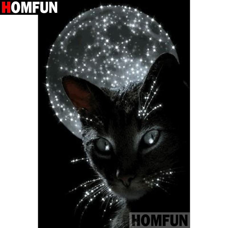 HOMFUN Full Square Round Drill 5D DIY Diamond Painting quot Black cat moon quot 3D Diamond Embroidery Cross Stitch Home Decor A21355 in Diamond Painting Cross Stitch from Home amp Garden