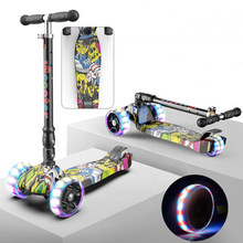 Children kick scooter baby children PU 3 rounds of LED outdoor sports folding fitness plastic height adjustable(China)