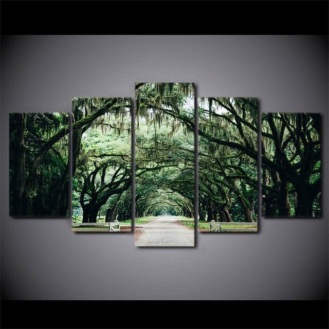 5 Pcsset Framed Hd Dicetak Tropis Pohon Beringin Forset Lukisan
