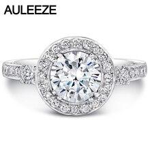 Test Positive 14K White Gold 1CT Moissanites Wedding Ring Band Noble Ladies Lab Grown Diamond Halo Three Stone Engagement Ring