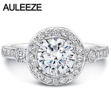 Test Positive 14K White Gold 1CT Moissanites Wedding font b Ring b font Band Noble Ladies