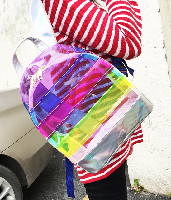 Plastový transparentný BATOH DÚHA 2farby PVC Transparent BACKPACK RAINBOW
