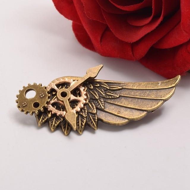 Стимпанк заколка крылья с шестерёнками в ассортименте 5