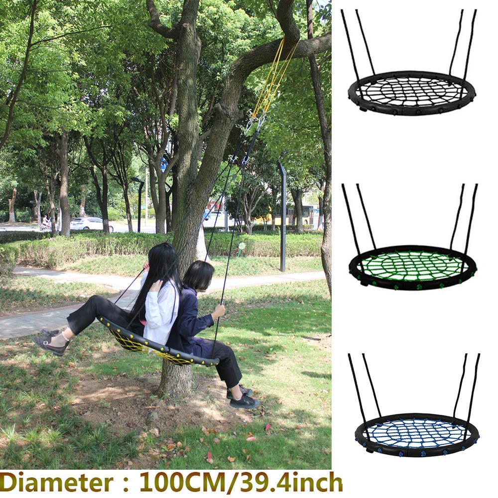 Children round nest nest swing indoor and outdoor hanger children net rope stout swing baby toys bearing 200 kg diameter 100cm(China)