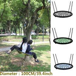Nido redondo nido columpio suspensión interior y exterior para niños cuerda de red fuerte columpio bebé rodamiento de juguetes 200 kg diámetro 100cm