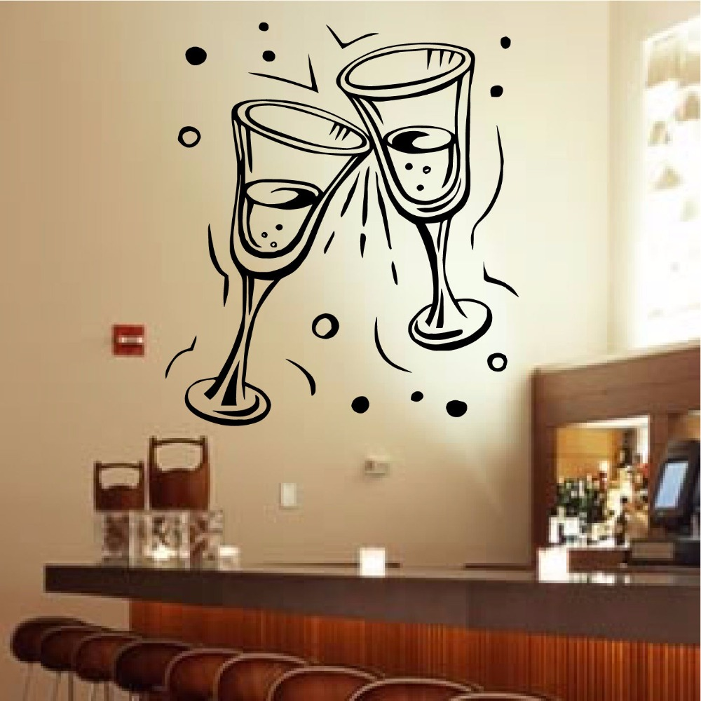 Champagne Glasses Wall Art Sticker Party celebration restaurant bar ...