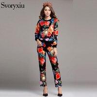 Svoryxiu осень 2017 г. Для женщин Винтаж Twinset высокое качество одежда с длинным рукавом с цветочным принтом Повседневное Twinset наряд