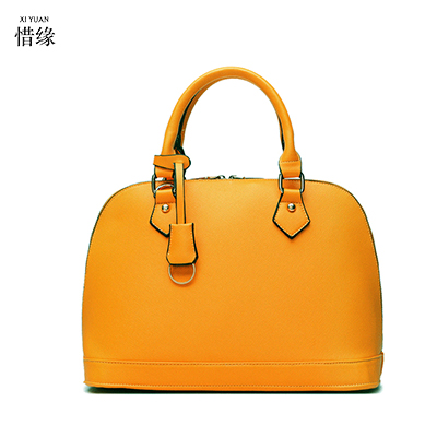 2017 New Fashion Women Brand Genuine Leather Handbags Large Capaciy Brief Ladies Shoulder Bags Black Orange