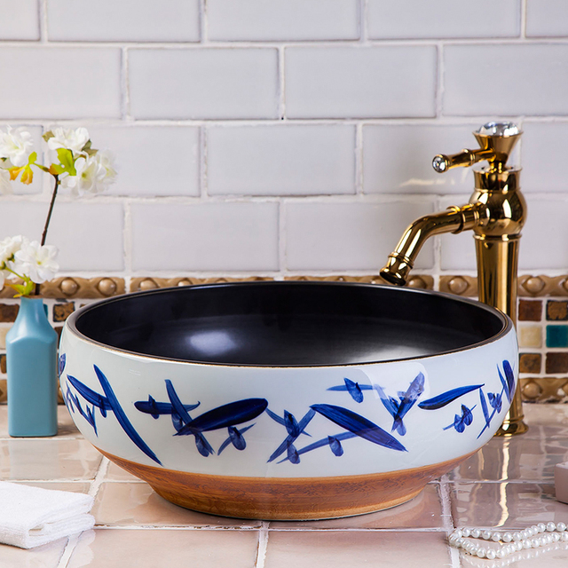 Jingdezhen Keramik Kunst Arbeitsplatte Waschbecken Schussel Fur Bad