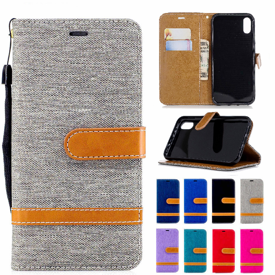 Flap wallet back cover denim mixed color PU leather for Apple iPhone XS Max Smart flip stand XR protector