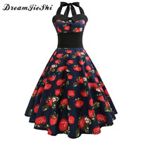 Dreamjieshi Summer Womens Vintage Dresses Cute Strawberry Print Retro 50s 60s Robe Rockabilly Big Swing Pinup