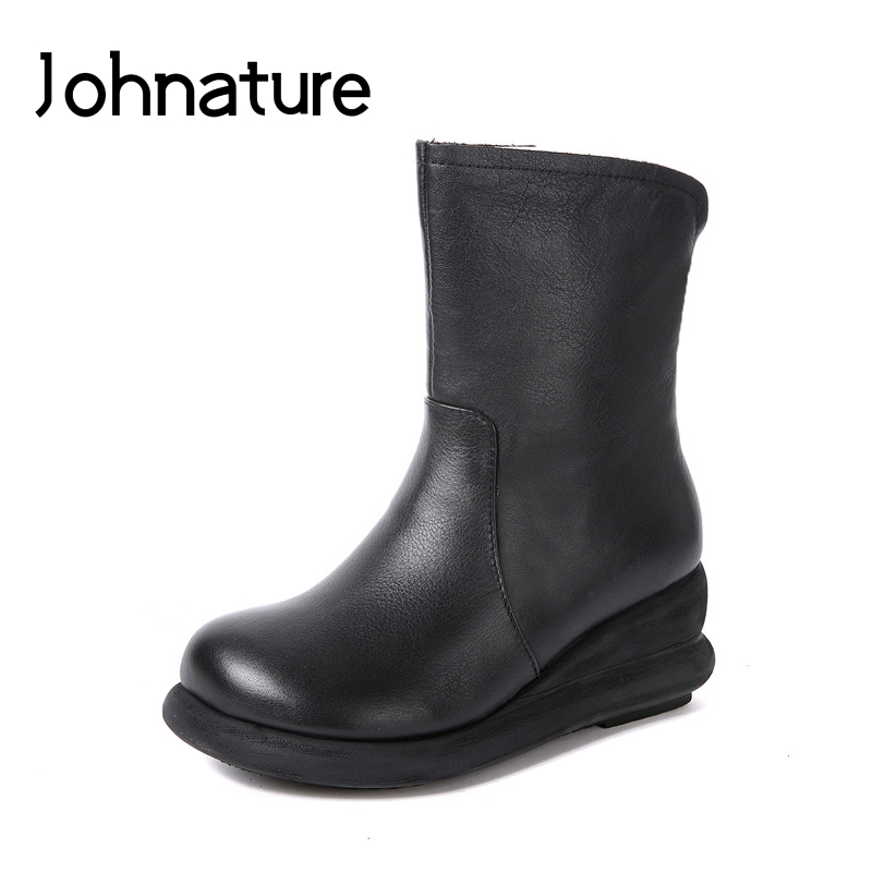 Johnature 2019 Winter Hot Sale Flat Bottom Genuine Leather Round Toe Zipper Casual Platform Boots Women