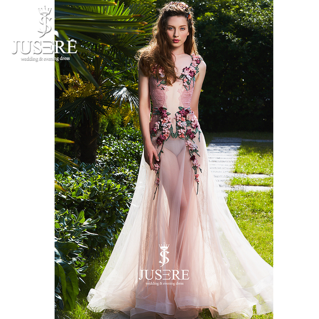 9e9f9a9ff4a5a Fashion Sexy Blush Pink See-Through High End Formal Gowns Handmade 3D  Flowers Lace Evening Dress 2019