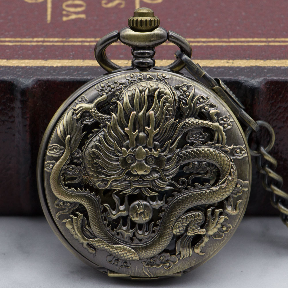 Unique Fashion Steampunk Bronze Pocket Watch Unisex Necklace Pendent Fob Watch Clock Mechanical Pocket Watches Gifts