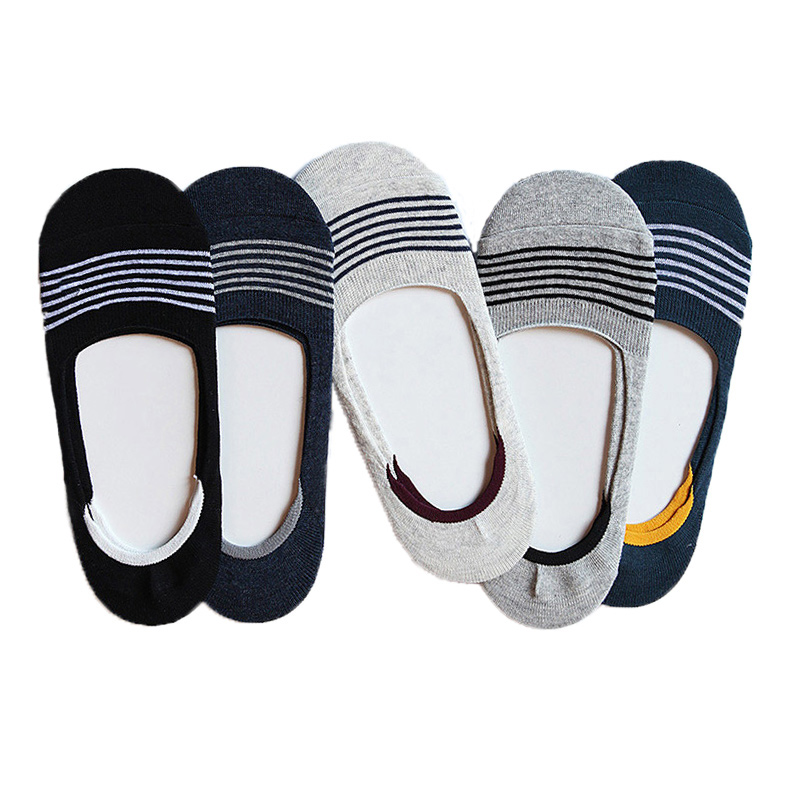 Fashion Casual Men Socks High Quality Cotton Stripe Socks Brief Invisible Slippers Male Shallow Mouth No Show Sock