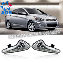 2PCs/set LED Car DRL Daytime Running Lights for Hyundai Accent Solaris 2014 2015 with fog lamp