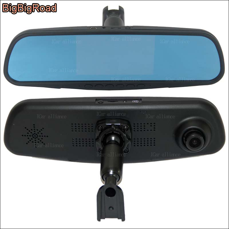 BigBigRoad For nissan march Dual Lens Car Mirror Camera DVR Blue Screen Video Recorder FHD 1080p Dash Cam with Original Bracket bigbigroad for nissan qashqai car wifi dvr driving video recorder novatek 96655 car black box g sensor dash cam night vision