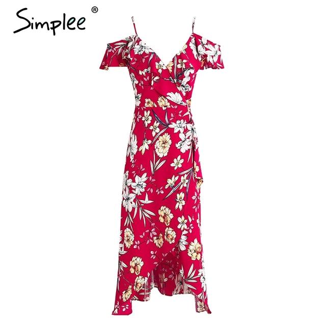 Simplee Vintage boho floral print dress women V neck sexy slip rufflle long dress Split beach summer elegant red dress 2017