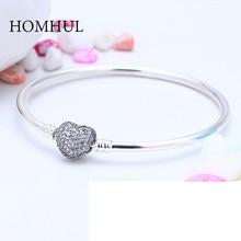 Фотография HOMHUL Authentic 100% 925 Sterling Silver Snake Chain Bracelet & Bangle Pave Heart Cubic Zirconia CZ DIY Jewelry