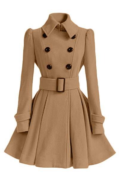 Coats Collar Cashmere-Blend Office Female Elegant Double-Breasted Lady Turn-Down Solid