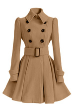 office lady elegant a-line long Cashmere blend coats turn down collar double breasted solid female wool coat