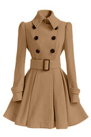 office lady elegant a line long Cashmere blend coats turn down collar double breasted solid female wool blend coat