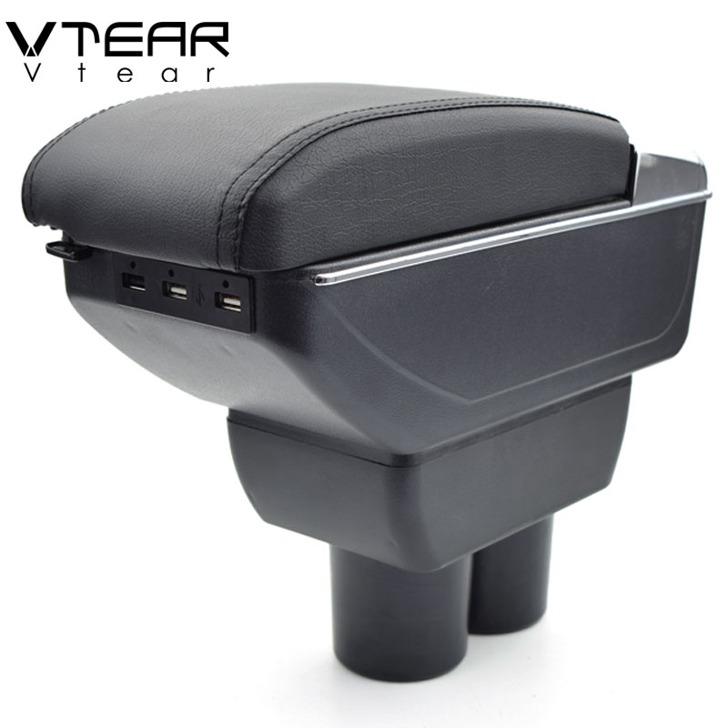 Vtear For Suzuki JIMNY armrest box USB Charging heighten Double layer central Store content cup holder