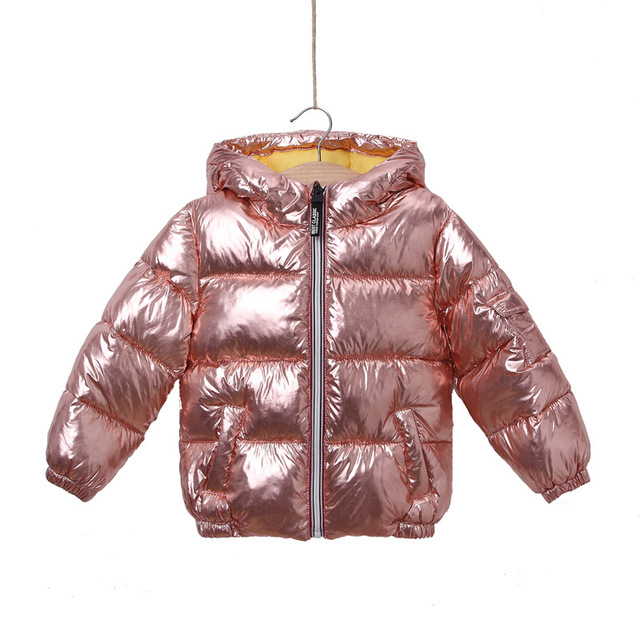 4b67e067ca1f Children Winter Jacket for Girl Kids Silver Gold Boys Casual Hooded ...