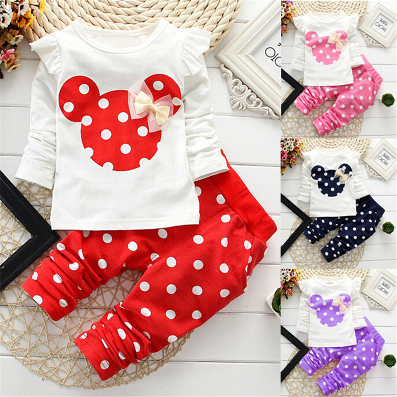 2016 Baby Set Dot Long Sleeve Cotton For Baby Girl Clothes Baby Suits Minnie Children Set