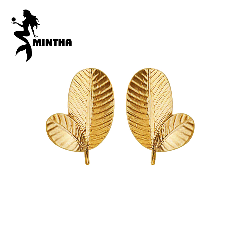 MINTHA 18K Gold Jewelry earrings pearl Jewelry,18k yellow gold earrings for women leaf stud earrings love wedding engagement pair of stylish rhinestone palm leaf stud earrings for women