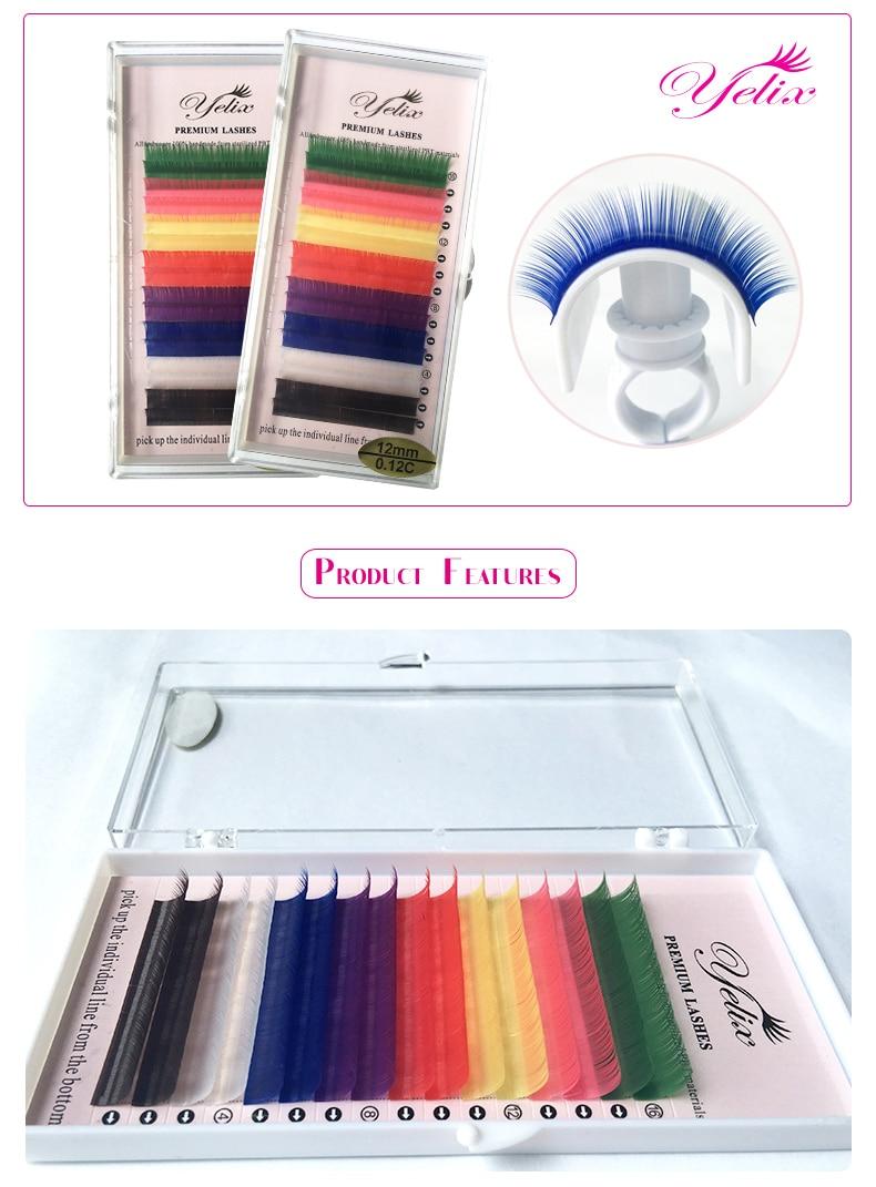 8 Colors Individual Mink Eyelashes Lashes Colored Natural False Cilios Posticos Purple Fake Eyelash Extension Eye Lash Yellow