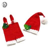 الكروشيه قبعة بابا نويل تحدد الوليد الطفل استحمام الطفل مجموعات زي سانتا ملابس التريكو wq14