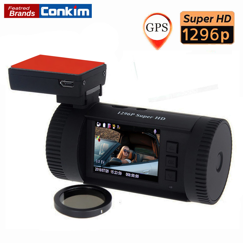 все цены на Conkim Car DVR Mini 0826 Ambarella A7 Super HD 1296P 1080P HDR Auto Dash Camera Car GPS Registrar ADAS w/ CPL As Well As 0806