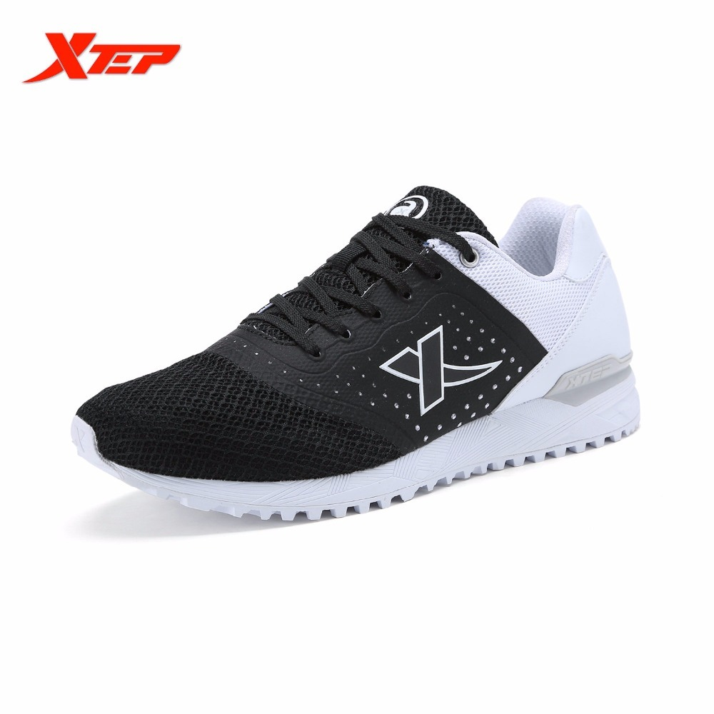 XTEP Original Brand Men's Light Weight Running Black Blue Sports Trainers Shoes Breathable Athletic Sneakers