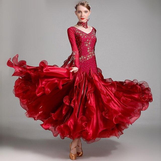 ee6ad49d2601 2017 Green Red Ballroom Dancing Dress Newest Design Woman Modern Waltz  Tango Dance Dress/standard Ballroom Competition Costume