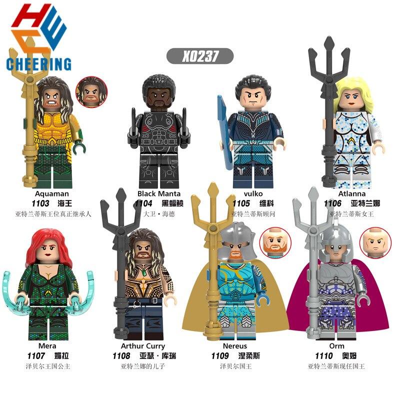 Single Sale Building Blocks Aquaman Black Manta Vulko Atlanna Mera Arthur Curry Figures Bricks Education Toys For Children X0237