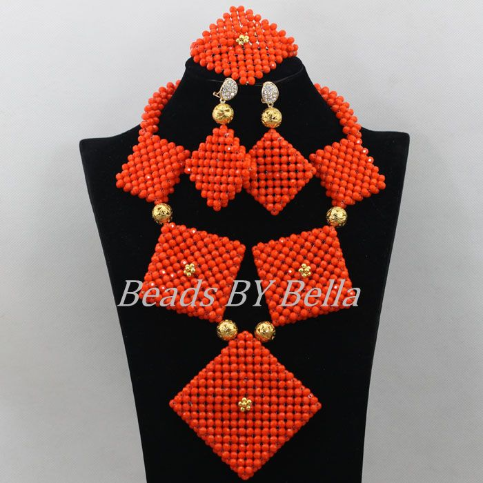 Opaque Orange Crystal Beads Necklace African Beads Set Nigerian Wedding Women Costume Fashion Jewelry Sets Free Shipping ABF628 african orange red beads necklace sets orange gold crystal balls beads women fashion jewellery sets qw1191