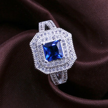 Diamond ring rose gold rings Crystal moissan emerald Square blue gemstone with zircon Luxury jewelry Valentines Day B2774