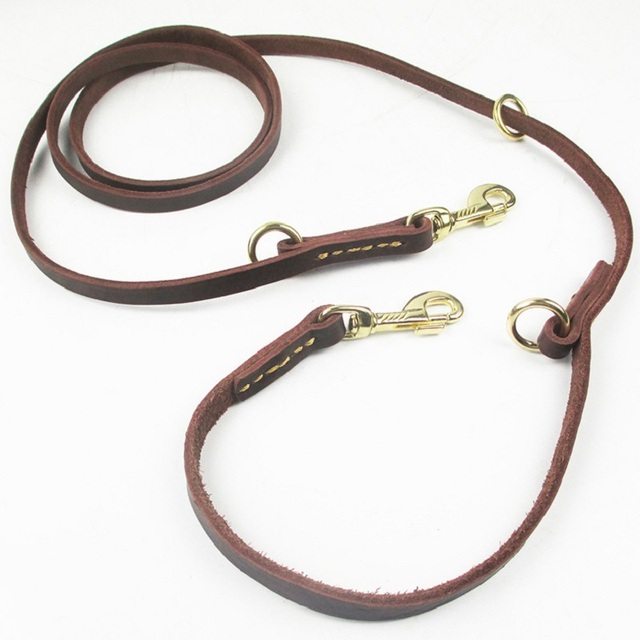 Multifunctional two Dog Leash Genuine Leather Double Leashes P chain Collar Adjustable Long Short pet Dog Walking Training Leads