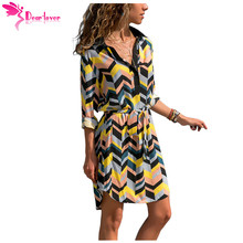 Dear Lover Autumn Long Sleeve Shirt Dress Robe Four Color Striped Print Button V Neck Knee-Length Dress Vestidos Casual LC220409