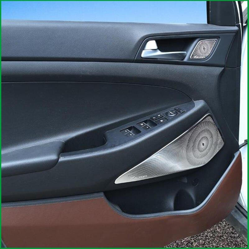Car Door Speaker Audio Ring Cover Trim Car styling For Hyundai Tucson 2015 2016 2017 2018 loudspeaker Covers Interior Parts