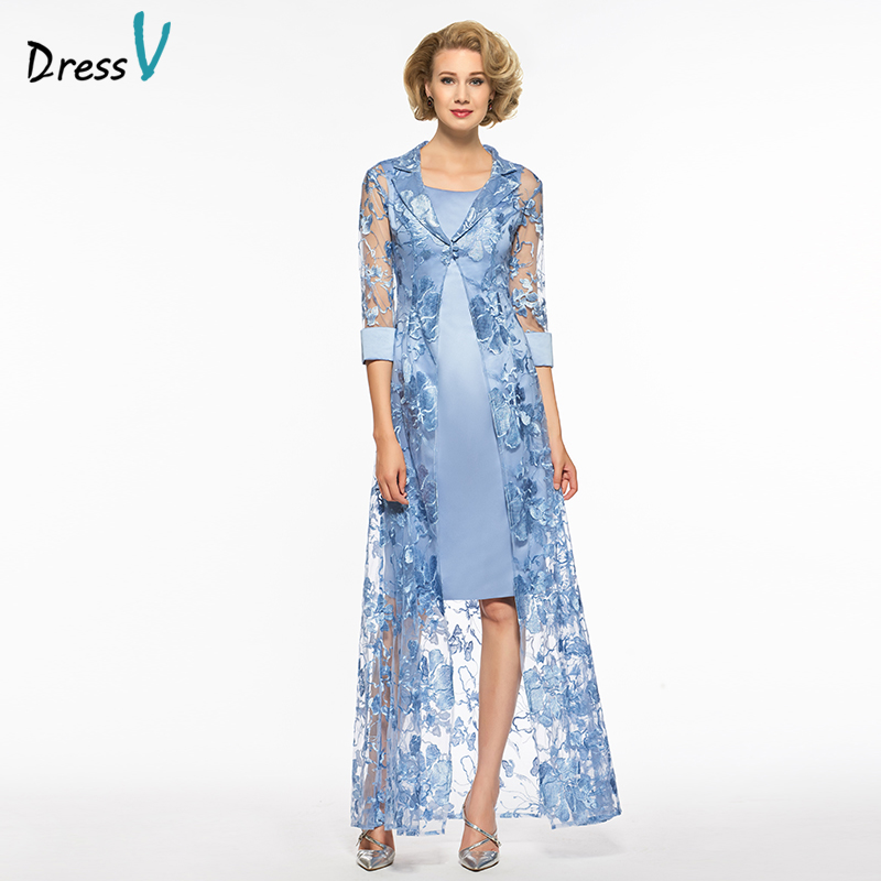 Dressv étain gaine long deux pièces mère de la mariée robe scoop cou demi manches dentelle zipper-up mère de la mariée robe