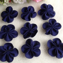 40pcs 40mm Navy Color Chiffon Ribbon Flowers Double Handmade Flowers Apparel Accessories Sewing Appliques DIY Crafts A640 все цены