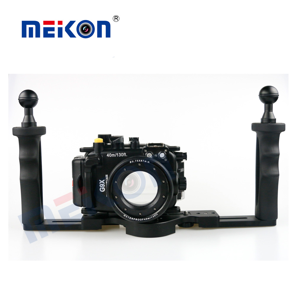 Meikon 40M/130FT Underwater Camera Waterproof housing case for Canon G9X + Two Hands Housing Tray waterproof underwater camera housing case cover bag for canon eos 600d two hands tray 67mm dome port fisheye