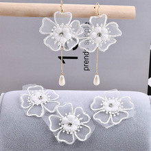 Korea fairy pure white organza lace embroidery flowers cloth earrings collars DIY jewelry accessories material package