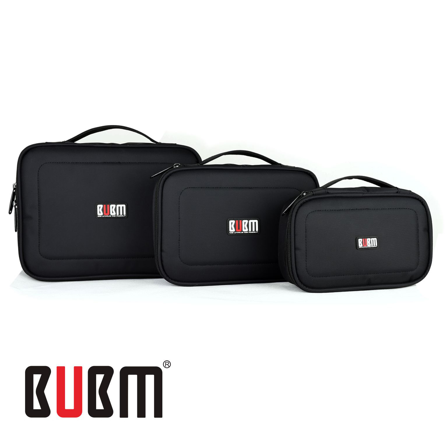 цена на BUBM 3 Pcs/Set Black Waterproof Portable Travel Organizer Case Functional Cosmetic Bag For iPad Mini iPhone Gopro Camera