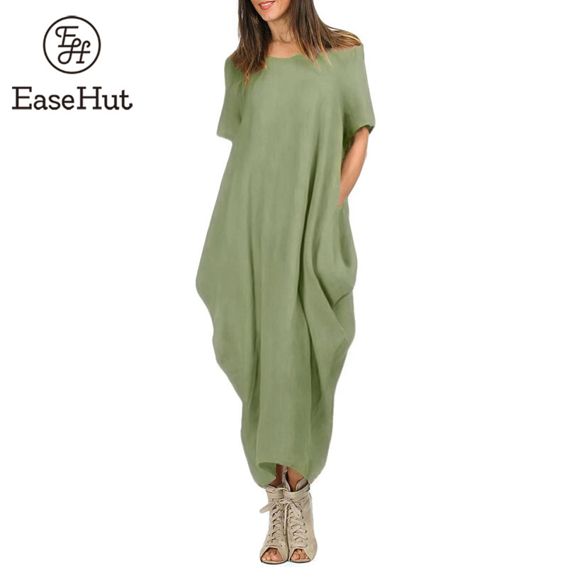 bdd455f995370 EaseHut Women Maxi Dress O Neck Pocket Summer Loose Casual Baggy ...