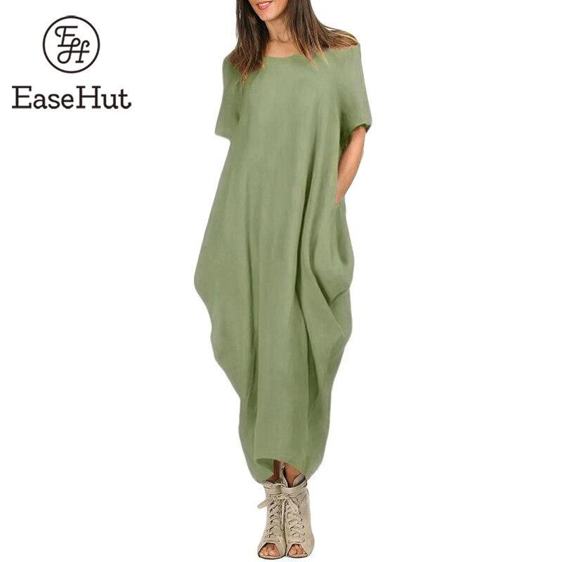 EaseHut Women Maxi Dress O Neck Pocket Summer Loose Casual Baggy Robe Plus Size 5XL Female Retro Long Dresses vestidos mujer 1
