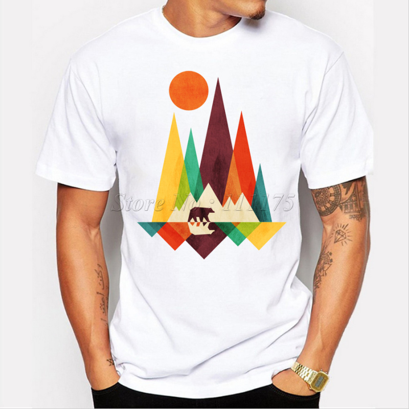 2019 New Arrival Simple Mountain And Bear Design Men's Fashion T Shirt Cool Tops Short Sleeve Hipster Tees