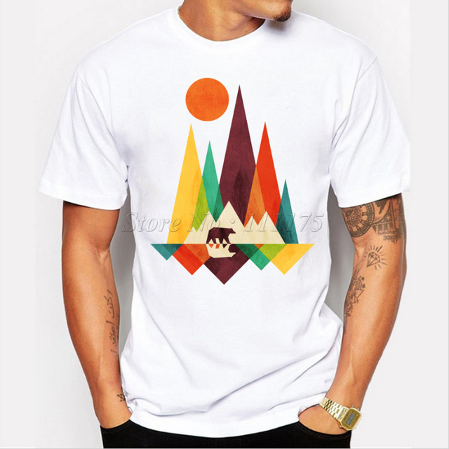 2018 New Arrival Simple Mountain And Bear Design Men\'s Fashion T ...